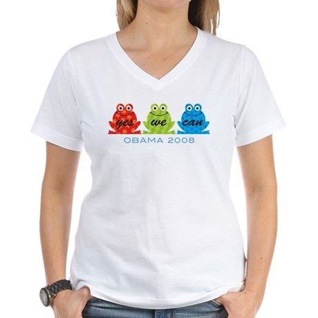 Obama Frogs Yes We Can Women's V-Neck T-Shirt
