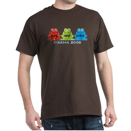 Obama Frogs Yes We Can Dark T-Shirt