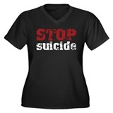 STOP Suicide Women's Plus Size V-Neck Dark T-Shirt