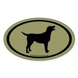 labrador retriever oval (blk/sage) Oval Bumper Stickers