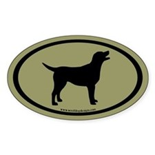 labrador retriever oval (blk/sage) Oval Decal