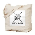 Knit for Brains - Brains Skull Tote Bag