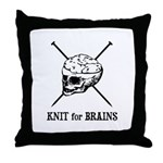 Knit for Brains - Brains Skull Throw Pillow
