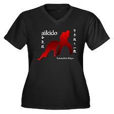Aikido Women's Plus Size V-Neck Dark T-Shirt