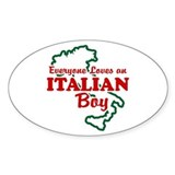 Everyone Loves an Italian Boy Oval Decal