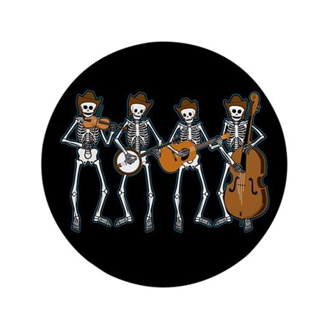 "Cowboy Music Skeletons 3.5"" Button (100 pack)"