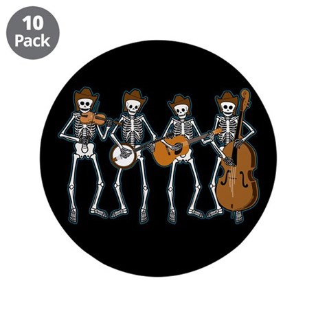 "Cowboy Music Skeletons 3.5"" Button (10 pack)"
