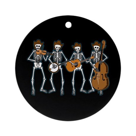 Cowboy Music Skeletons Ornament (Round)