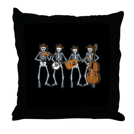Cowboy Music Skeletons Throw Pillow