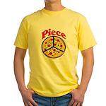 Pizza Slice Peace Yellow T-Shirt