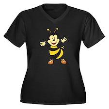 Busy Bee Women's Plus Size V-Neck Dark T-Shirt