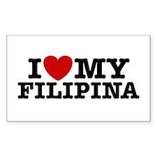 I Love My Filipina Rectangle Decal