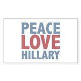 Peace Love Hillary Clinton Rectangle Decal