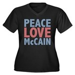 Peace Love John McCain Women's Plus Size V-Neck Da