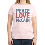 Peace Love John McCain Women's Light T-Shirt