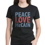 Peace Love John McCain Women's Dark T-Shirt