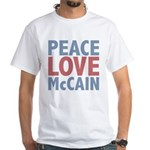 Peace Love John McCain White T-Shirt