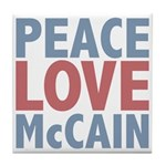 Peace Love John McCain Tile Coaster
