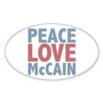 Peace Love John McCain Oval Sticker (50 pk)
