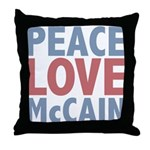 Peace Love John McCain Throw Pillow