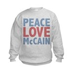 Peace Love John McCain Kids Sweatshirt