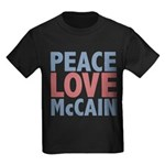 Peace Love John McCain Kids Dark T-Shirt