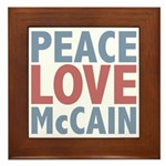 Peace Love John McCain Framed Tile