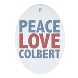 Peace Love Stephen Colbert Oval Ornament