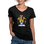 Nebel Family Crest Women's V-Neck Dark T-Shirt