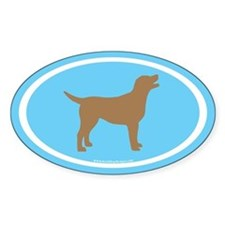 chocolate lab oval (wh/br/lt.blue) Oval Decal