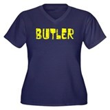 Butler Faded (Gold) Women's Plus Size V-Neck Dark
