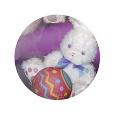 "Stuffed Easter Bunny w/ Ball 3.5"" Button (100 pack"