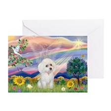 Cloud Angel & White Poodle Greeting Card