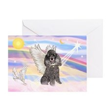 Silver Poodle Angel Greeting Card