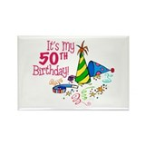 It's My 50th Birthday (Party Hats) Rectangle Magne