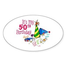It's My 50th Birthday (Party Hats) Oval Decal