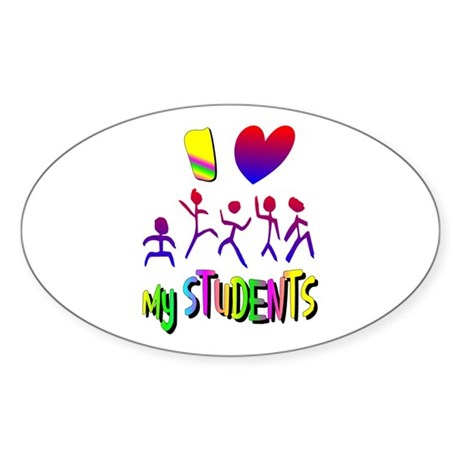 I Love My Students Oval Sticker (10 pk)