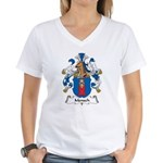 Mensch Family Crest Women's V-Neck T-Shirt