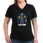 Mensch Family Crest Women's V-Neck Dark T-Shirt