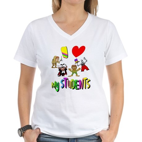 I Love My Students Women's V-Neck T-Shirt