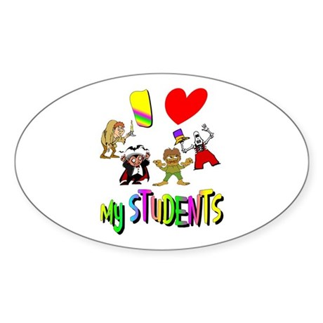 I Love My Students Oval Sticker