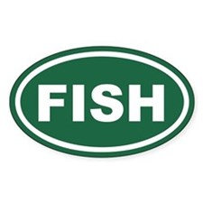 Green Fish Euro Oval Decal