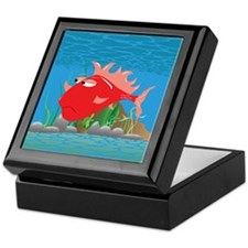 Red Grumpy Fish Keepsake Box