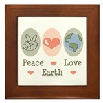 Peace Love Earth Framed Tile