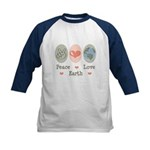 Peace Love Earth Kids Baseball Jersey