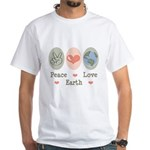 Peace Love Earth White T-Shirt