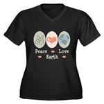 Peace Love Earth Women's Plus Size V-Neck Dark T-S