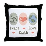 Peace Love Earth Throw Pillow