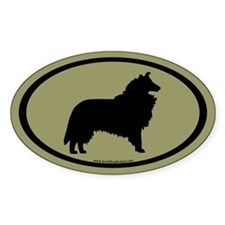 Collie Dog Oval (black on sage) Oval Decal