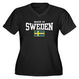 Made in Sweden Women's Plus Size V-Neck Dark T-Shi